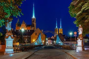 Obraz City of Wroclaw by night. Poland - fototapety do salonu