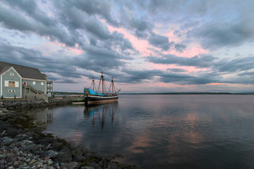 Wall Mural - Ship Hector replica at sunset in Pictou, Nova Scotia