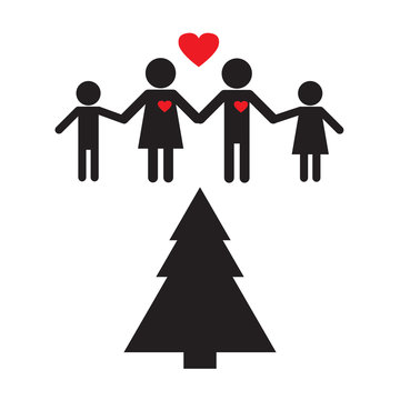 Christmas & New Year Celebrating. Stick figures family new year. Christmas Tree Together.