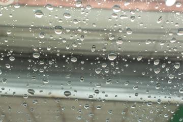 rain water drops on window glass.