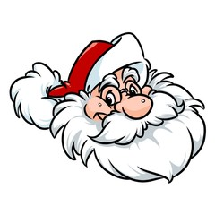 Emblem head Santa Claus Christmas happiness cartoon illustration isolated image