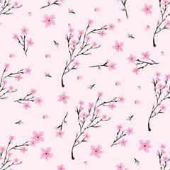 Seamless pattern of pink cherry flowers on light pink background