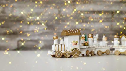 новогодний паровозик, рождественские игрушки, праздничный декор, открытка