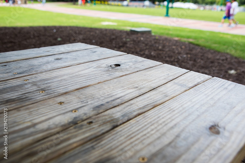 A Wood Picnic Table And A Lawn In A Park In Atlanta Georgia Stock - Picnic table atlanta