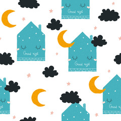 Seamless pattern with cute sleeping house and moon. Vector hand drawn illustration.