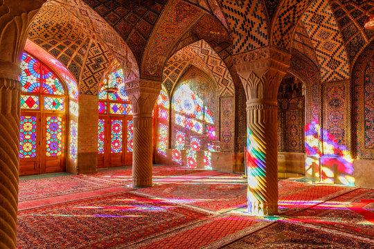 Islamic Republic of Iran. Shiraz. Nasir al-Mulk Mosque, the Pink Mosque located in Gawd-i Araban quarter, near Shah Cheragh Mosque. 09 March 2018
