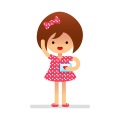 Cartoon. Cute girl with love letter. Flat style. Vector.