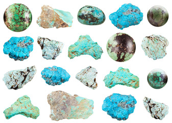 collection of various Turquoise gemstone isolated