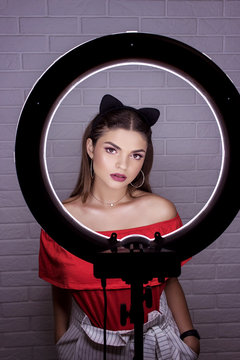 Professional makeup for brunette with black ears