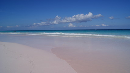 Beautiful view of the pink sands beach with turquoise crystal clear water in Harbour Island, Bahamas