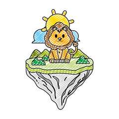 doodle male lion animal in float island