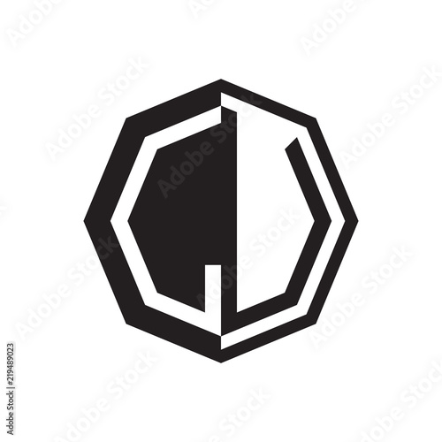 Two Letter Lu Octagon Negative Space Logo Stock Image And Royalty