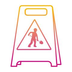 degraded line plastic caution emblem and laborer with shovel