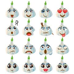 Garlic Emoji Emoticon Expression. Funny cute food