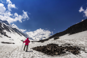 View of Himalayas mountains during Annapurna Base Camp trekking in Nepal.
