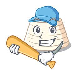 Playing baseball ricotta cheese icon in character cartoon
