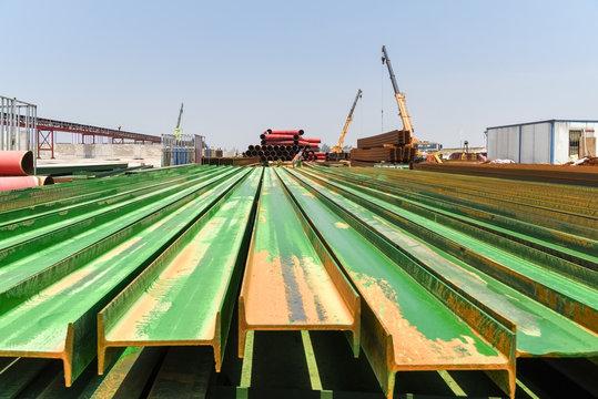 steel i-beam on construction site