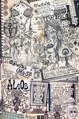 Foto op Aluminium Imagination Alchimia e astrologia. Manoscritti con disegni e simboli alchemici, etnici, astrologici e esoterici