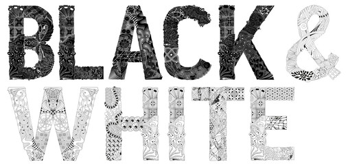 Words black and white in black color. Vector decorative zentangle object