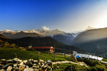 View of Himalayas mountains from Ghandruk village in Nepal.