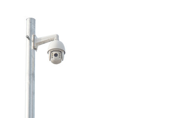 Cctv camera systems installation and separated from the background.