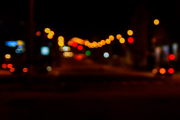 Abstract background of blurred big city lights