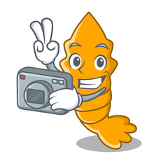 Photographer cooked shrimps isolated on mascot cartoon