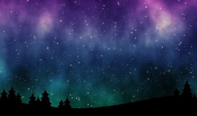 Night sky with aurora borealis and stars field illustration design background Fototapete