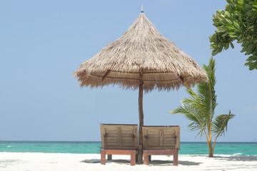 Poster Zanzibar umbrella beach at beautiful beach