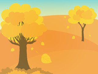 Digital painting of autumn in warm tone. Autumn tree with yellow leaves on hill.
