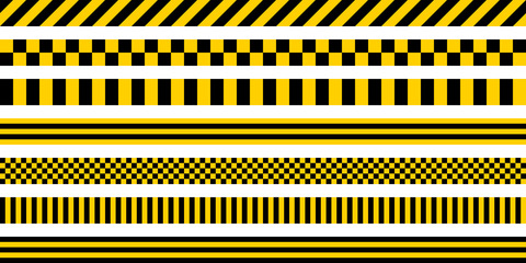 Set stripes yellow and black color, with industrial pattern, vector safety warning stripes, black pattern on yellow background