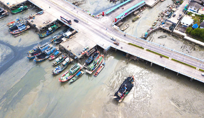 Aerial view of Chonlamark vithee bridge from Chonburi Thailand