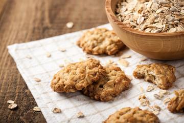 Deurstickers Koekjes Homemade oatmeal cookies and oat flakes
