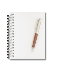 Empty notepad (sketch book) with pen isolated on white background