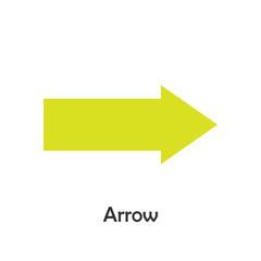 Arrow in cartoon style, card with geometric shape for kid, preschool activity for children, vector illustration