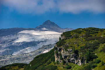 Beautiful mountain and glacier view at Nationalpark Hohe Tauern in Pinzgau in the Austrian Alps