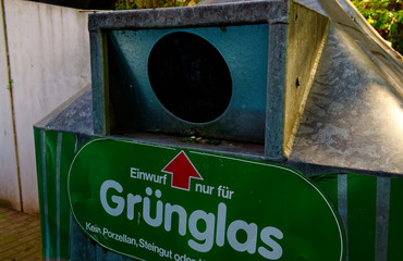 Bottlebank from Germany with instructions such as the Bottlebank must be filled to clarify the recycling of raw materials