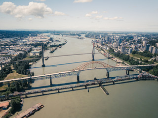 Aerial Drone Shot Canada Surrey British Columbia BC Bridges