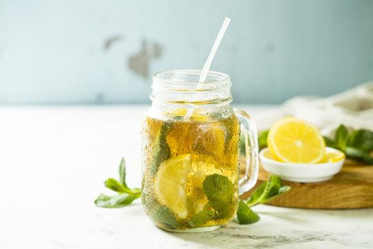 Homemade lemon and mint lemonade