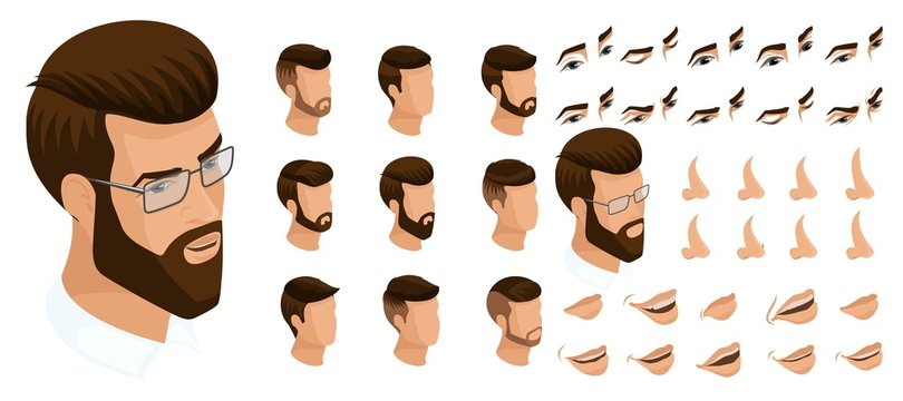 Isometrics create your emotions for a man with a hipster and a beard. Sets of 3D hairstyles, faces, eyes, lips, nose, facial expression. Qualitative vector isometry