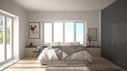 Scandinavian white and gray minimalist bedroom with panoramic window, fur carpet and herringbone parquet, modern architecture interior design