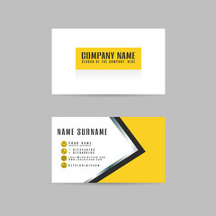 vector Modern simple light business card yellow template with flat user interface on gray background