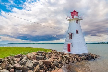 Fototapeten Leuchtturm Lighthouse near Brighton beach in Charlottetown - Canada