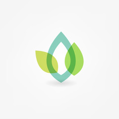 Green Leaf Icon Vector Illustrations