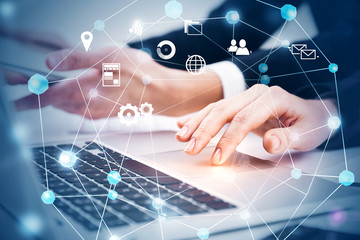 Business people hands with gadgets, network, icons