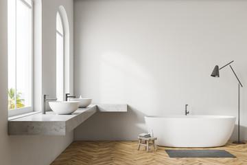 White bathroom interior, white tub