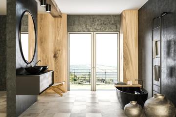 Concrete and wooden bathroom interior, black tub