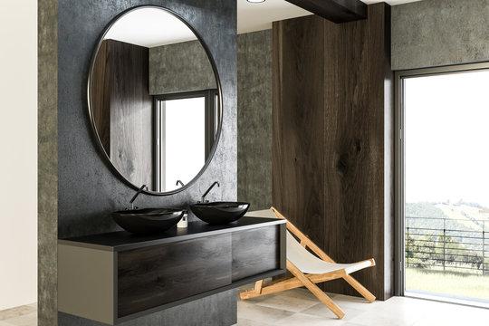 Black double bathroom sink side view, concrete