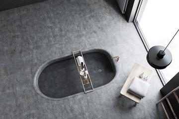 Original bathroom interior top view, tub in floor