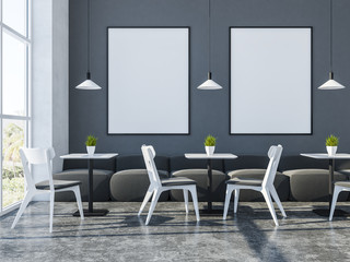 Gray white stylish cafe interior, banner gallery
